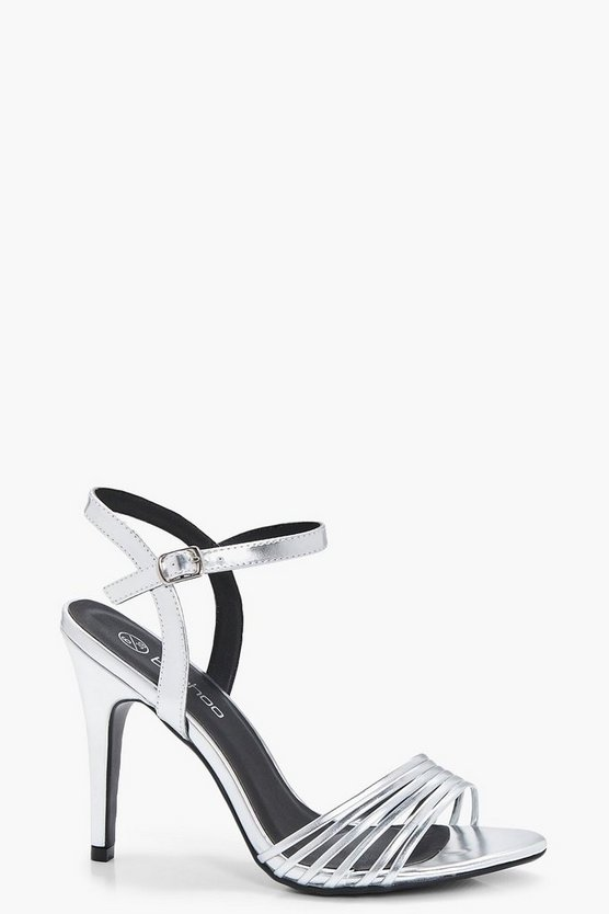 Metallic Cage Strappy 2 Part Heels