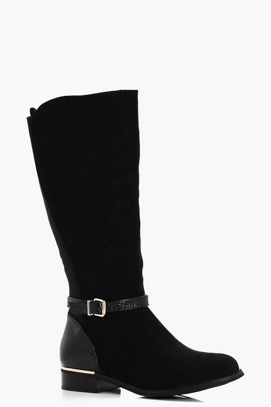 Mix Material Buckle Trim Riding Boots