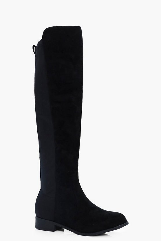 Stretch Back Knee High Boots
