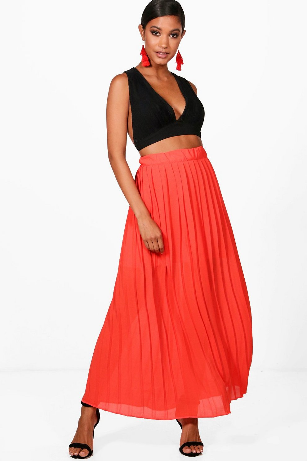 fb8b5be4d9 Ria Pleated Chiffon Maxi Skirt | Boohoo