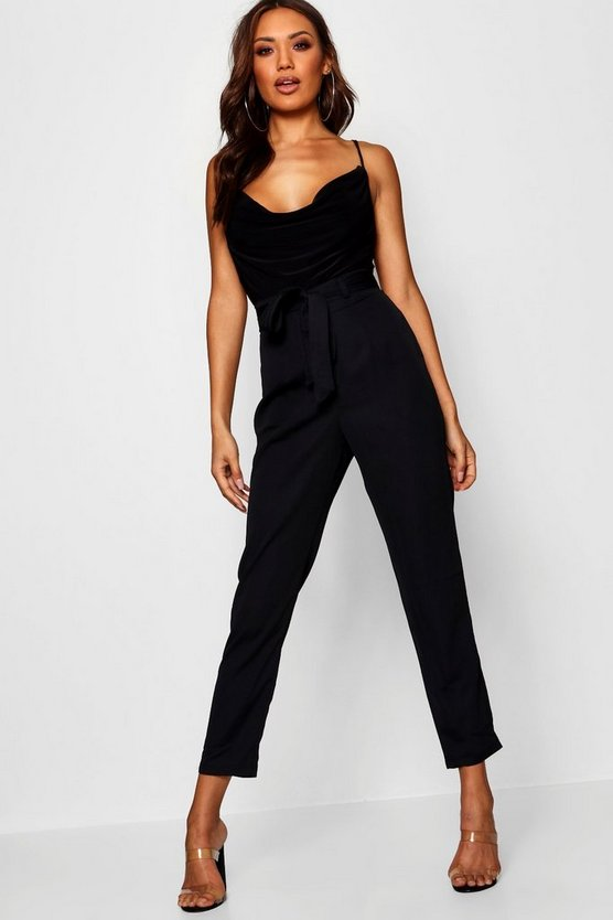 Womens Black Tie Waist Woven Satin Slimline Trousers