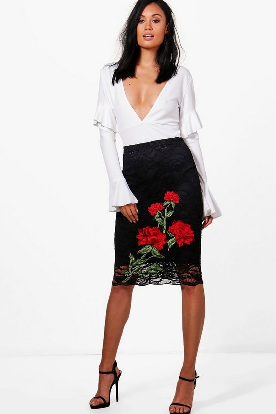 Large Embroidery Lace Midi Skirt