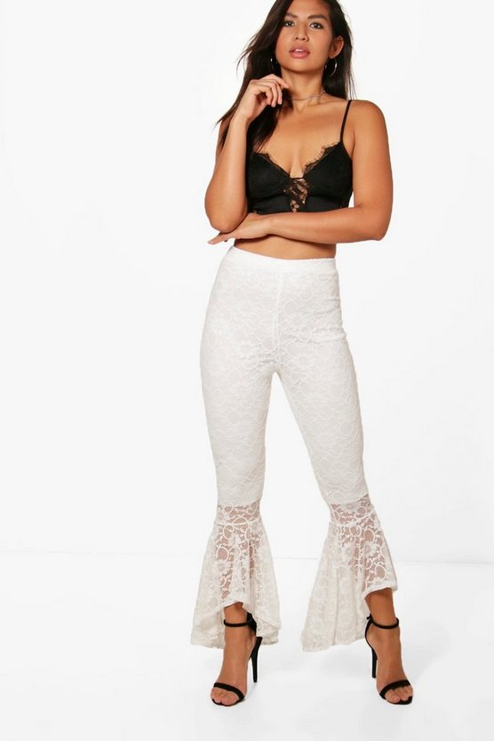 Lyssa Corded Lace Dipped Hem Ruffle Trouser