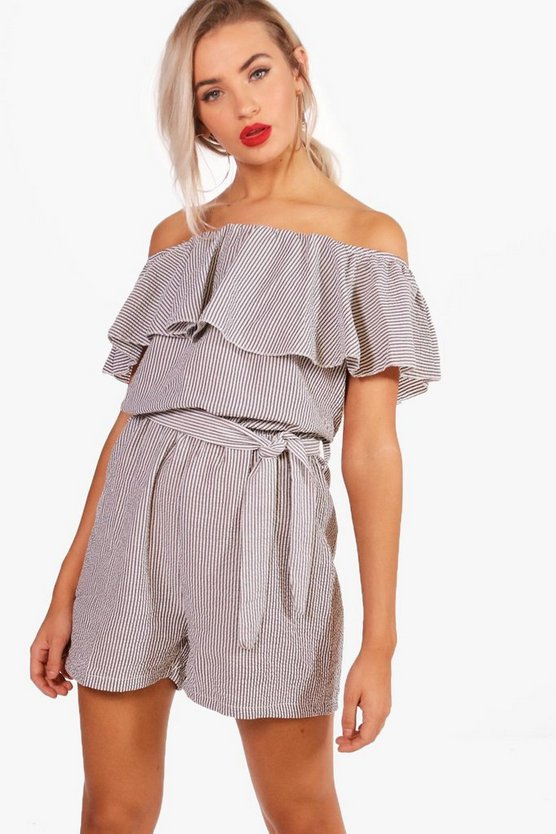 Georgina Striped Off The Shoulder Ruffle Playsuit