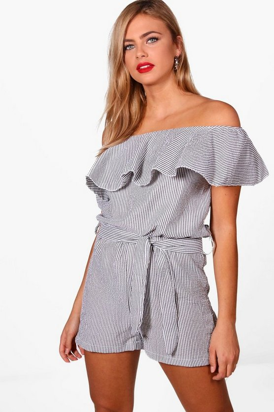 Gingham Off The Shoulder Playsuit