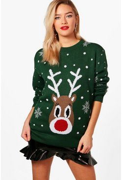 Womens Bottle Snowflake Reindeer Christmas Sweater