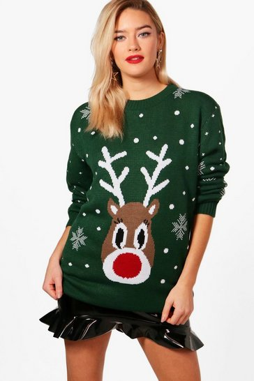 Womens Bottle Snowflake Reindeer Christmas Jumper