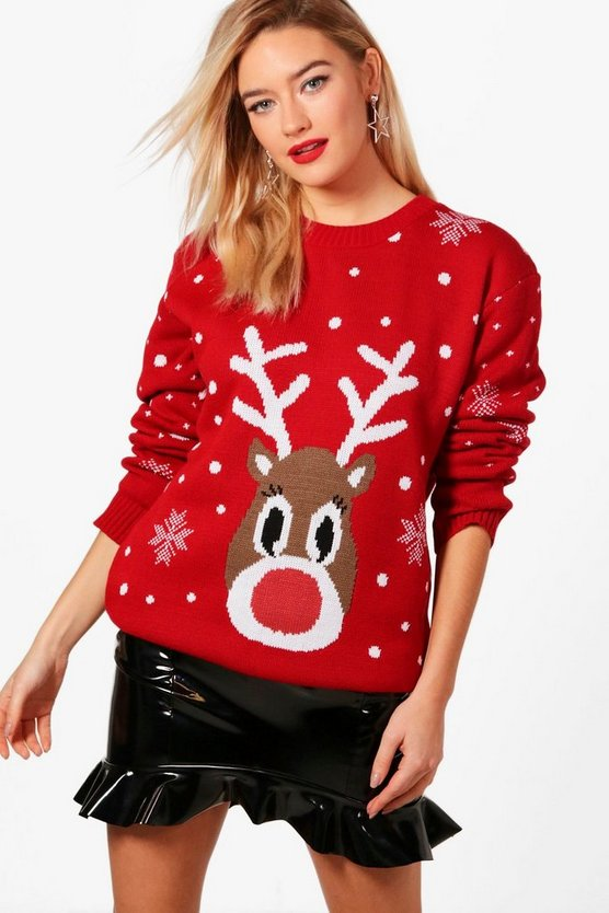 Womens Red Snowflake Reindeer Christmas Jumper