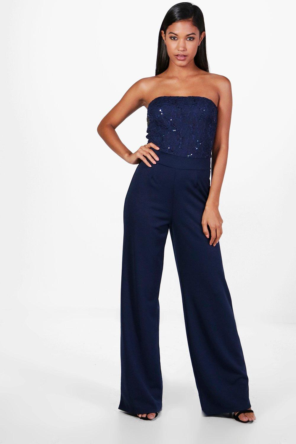 boohoo damen gemma eleganter jumpsuit mit weitem bein und pailletten ebay. Black Bedroom Furniture Sets. Home Design Ideas