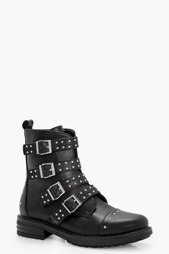 Multi Strap Buckle & Stud Hiker Boots