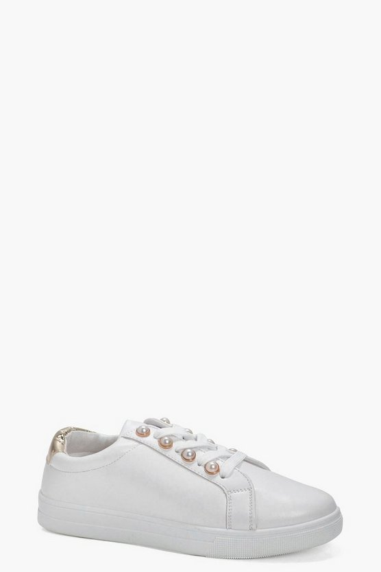 Melody Pearl Trim Lace Up Trainer