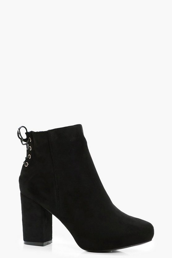 Lace Up Back Heel Shoe Boots