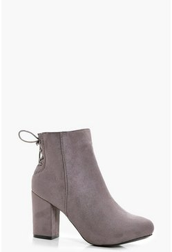 Dam Grey Lace Up Back Heel Shoe Boots