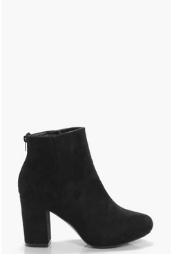 Womens Black Mid Heel Shoe Boots
