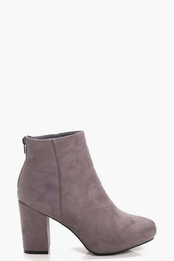 Womens Grey Mid Heel Shoe Boots