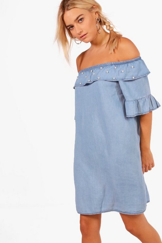 Madison Ruffle Pearl Detail Denim Dress