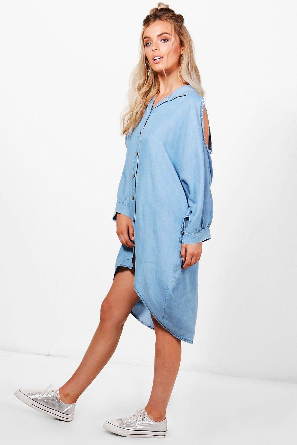 42a03153bcfb Kandy Pearl Trim Open Shoulder Denim Shirt Dress