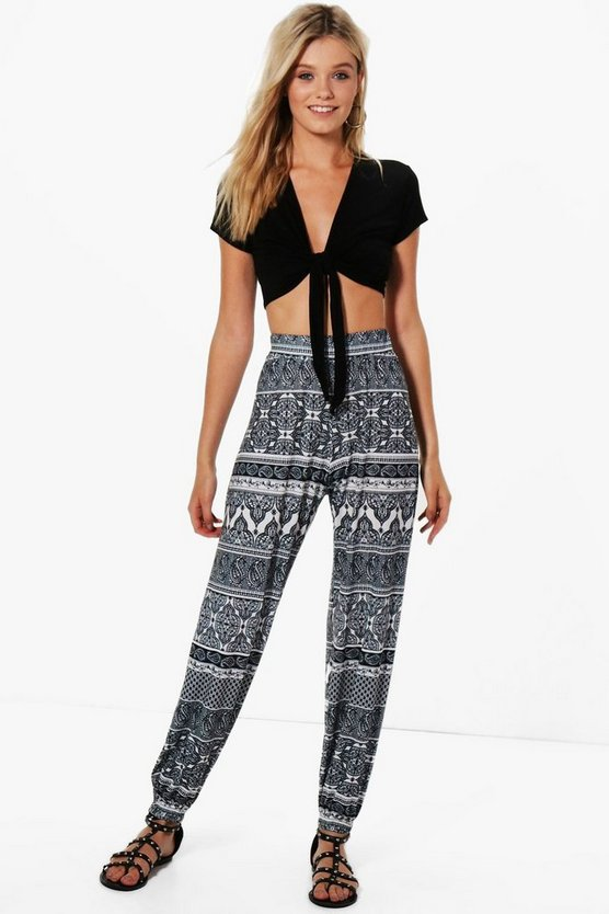 Janice Monochrome Print Relaxed Joggers