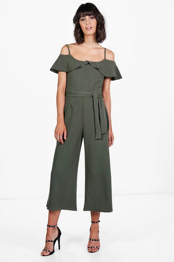 Womens Khaki Nora Open Shoulder Culotte Jumpsuit