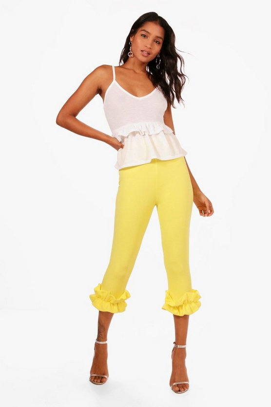 Ruffle Ankle Crepe Skinny Trousers