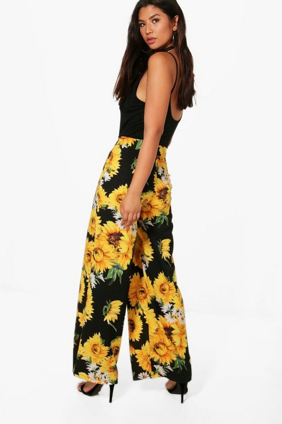 Ellie Bright Floral Wide Leg Woven Trousers