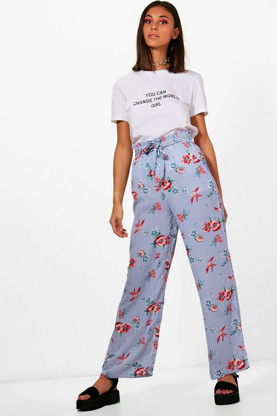Striped Floral Ruffle Waist Trousers