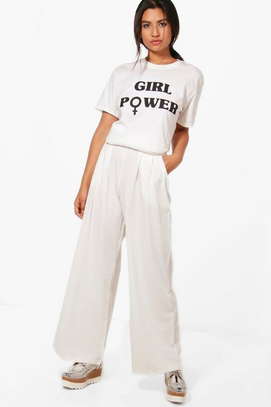 Pleat Front Woven Wide Leg Trousers