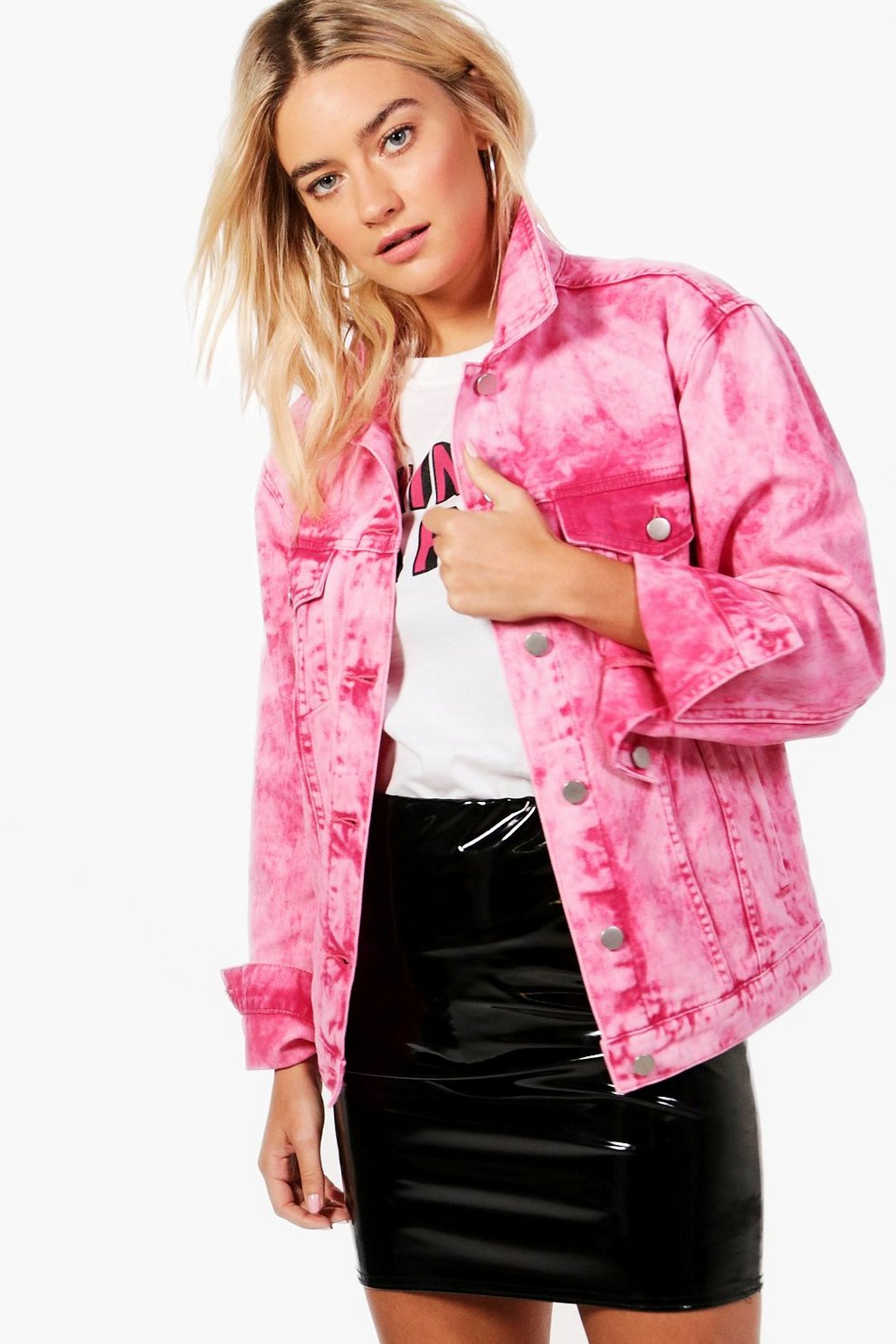 c1a82a40ad6 Hot Pink Acid Wash Oversize Denim Jacket