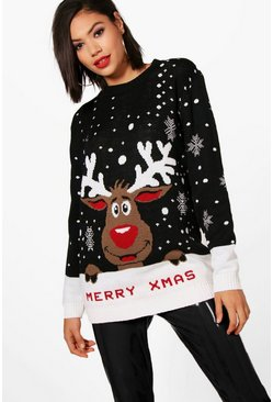 I Love Xmas Reindeer Christmas Jumper, Black, Donna