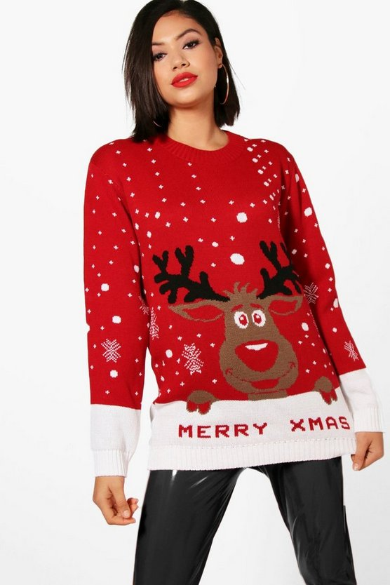 Womens Red I Love Xmas Reindeer Christmas Sweater
