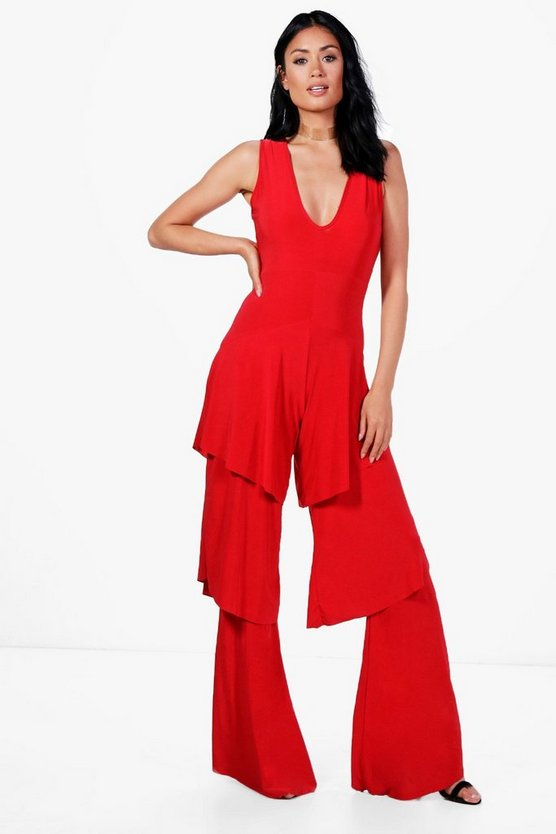 Sara All Over Ruffle Wide Leg Jumpsuit