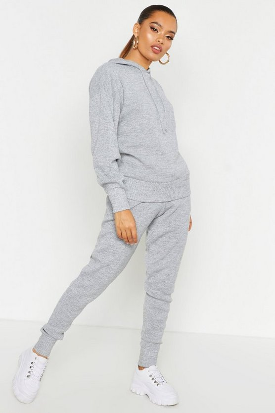 Womens Grey Hooded Knitted Lounge Set