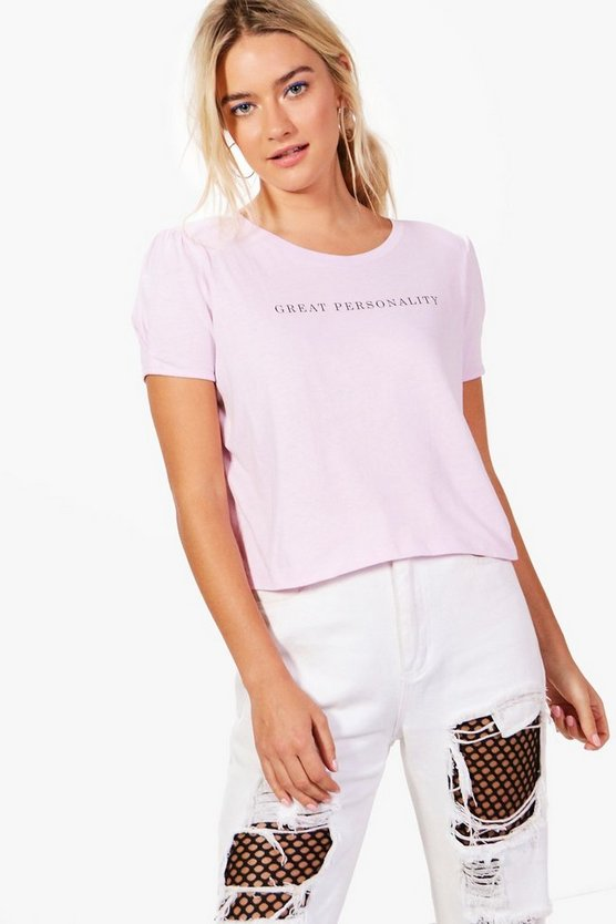 Maisie Slogan Shoulder Pad Tee