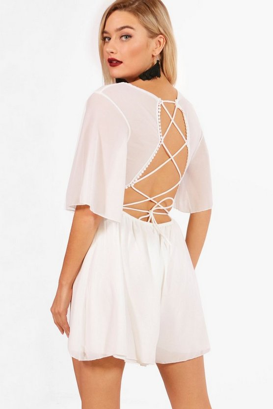 Womens Ivory Lace Up Back Playsuit