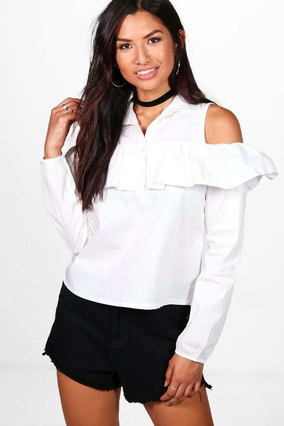Tia Cold Shoulder Ruffle Shirt