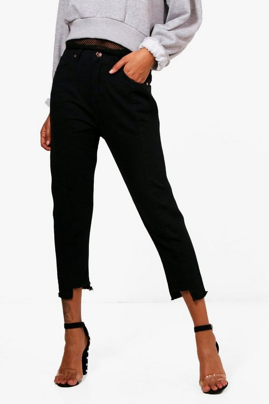 Womens Black Seam Front Step Hem Straight Leg Jeans
