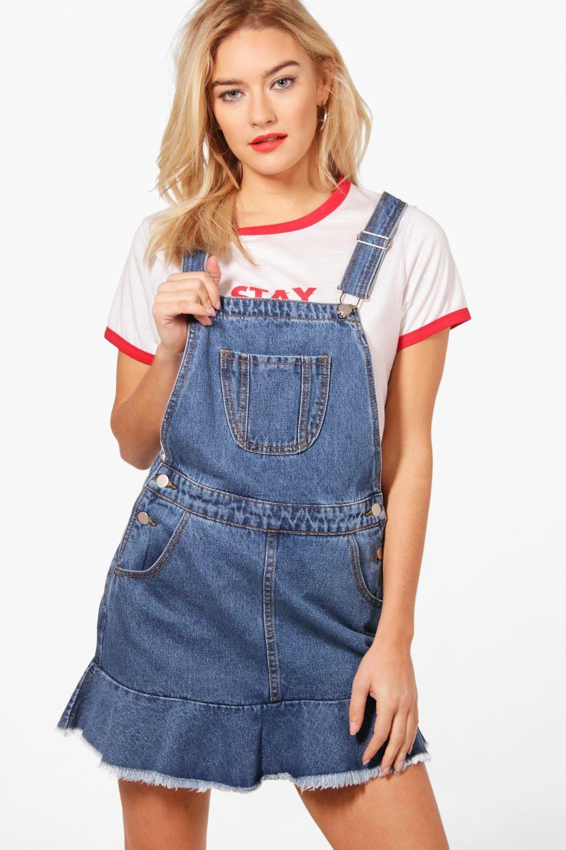 boohoo womens rosie denim pinafore dress ebay
