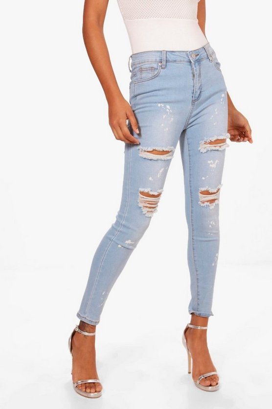 Jess Paint Splatter Distressed Skinny Jeans