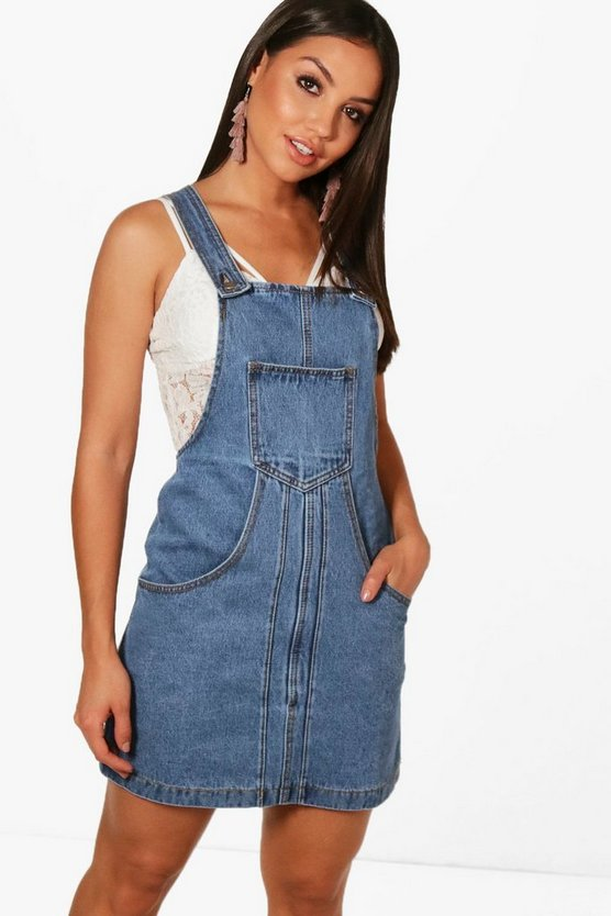 Womens Mid blue Pleat Front Denim Pinafore Dress