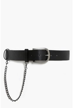 Womens Black Chain Detail Boyfriend Belt