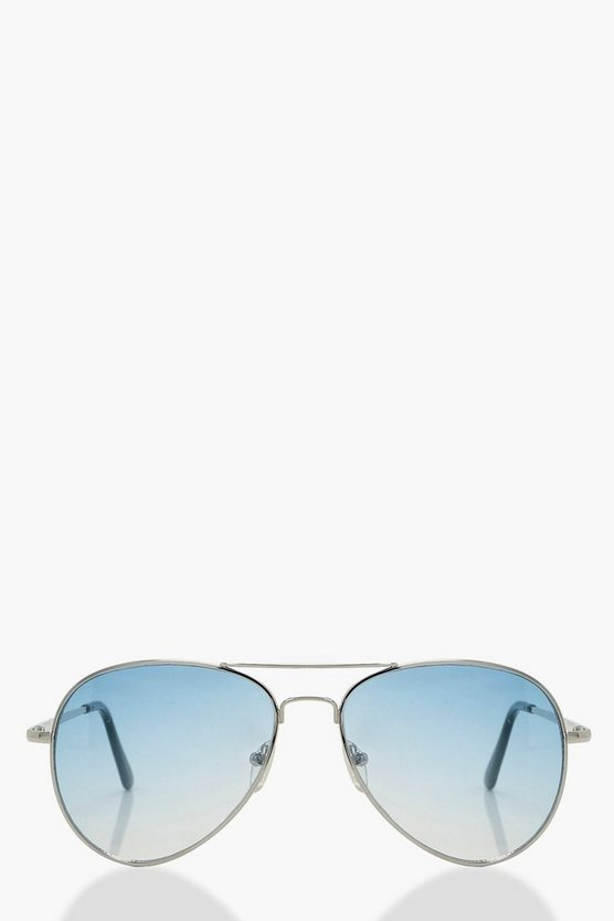 Womens Blue Blue Tint Aviator Sunglasses