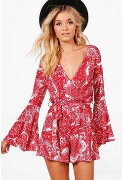 Red Wrap Paisley Playsuit