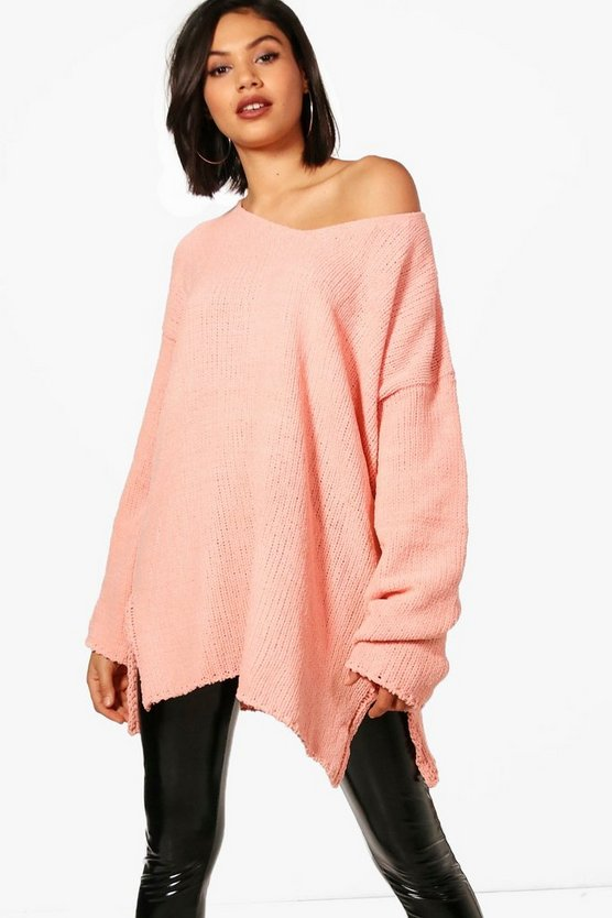 Womens Blush V Neck Chenille Jumper