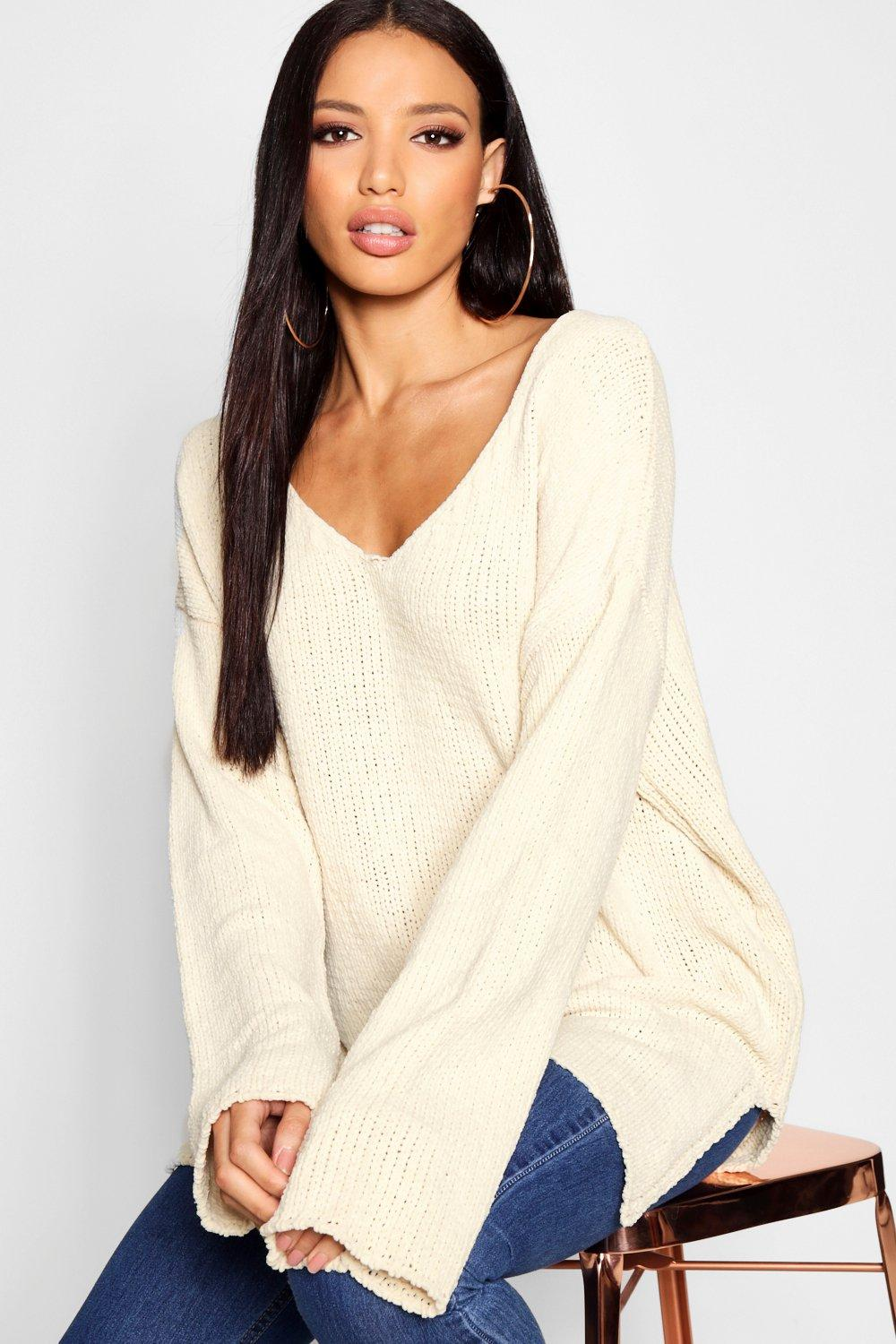 Chenille V Neck V Jumper Neck cream ROqvxS6w