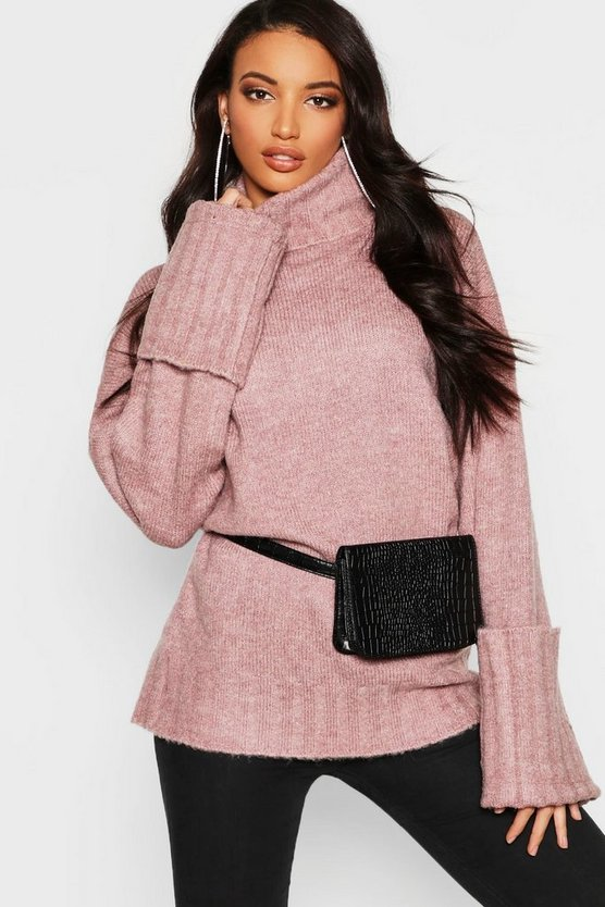 Turn Up Cuff Maxi Sleeve Roll Neck Jumper
