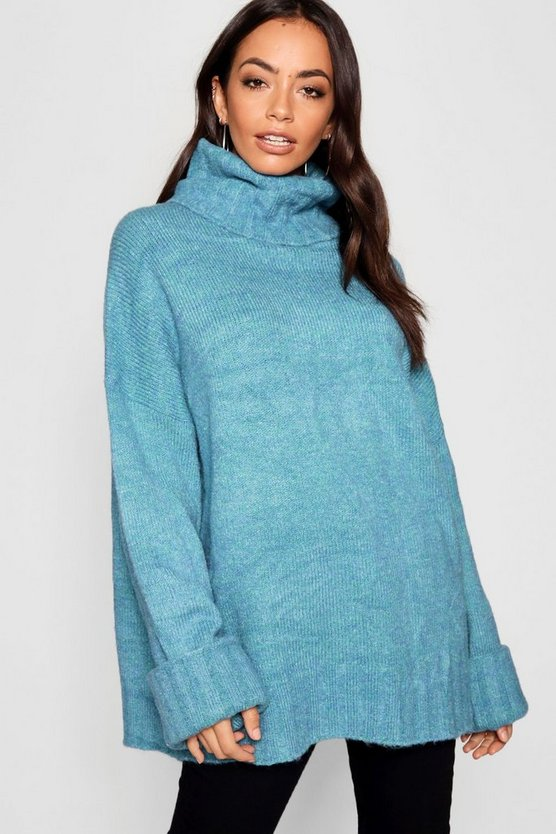 Turn Up Cuff Maxi Sleeve Roll Neck Sweater