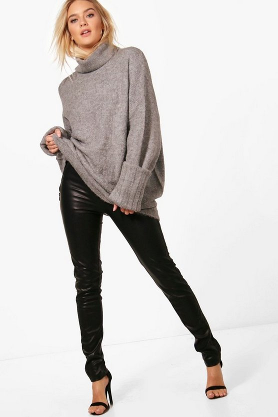 Grey Turn Up Cuff Maxi Sleeve Roll Neck Jumper