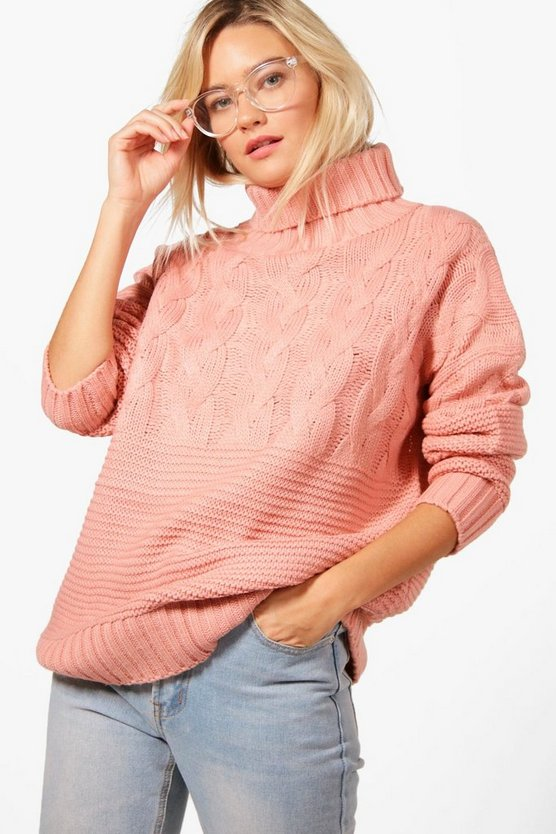 Womens Blush Roll Neck Cable Knit Jumper