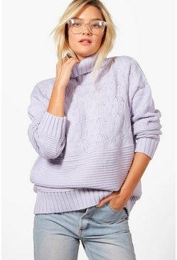 Womens Lilac Roll Neck Cable Knit Jumper