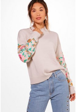 Womens Grey Embroidered Sleeve Jumper